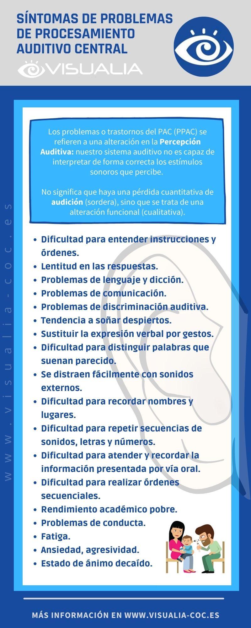 Síntomas de problemas de procesamiento auditivo central